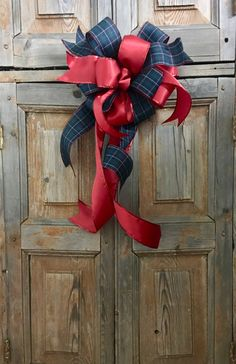 The Merida Navy And Red Plaid Christmas Tree Topper Bow //