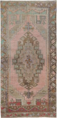 """CLEARANCE SALE...Hand-knotted Turkish Carpet 4'1"""" x 8'5"""" Anadol Vintage Rug"""