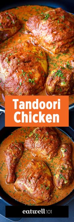 Baked Tandoori Chicken A juicy, moist and flavorful chicken with a delicious tandoori sauce. Serve with a side of naan and white rice and you'll get a real hit for dinner!Ingredients list for the tandoori whole … Tandoori Recipes, Curry Recipes, Chicken Tandoori Masala, Oven Recipes, Slow Cooker Recipes, Dinner Recipes, Cooking Recipes, Recipies, Recipes