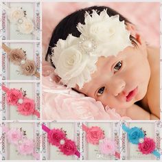 Buy Pearl Crystal Flowers Baby Girls Fashion Elastic Headband Unisex Headwear Hair Jewelry princess Infant Toddler Newborn Costume Photography Props Kids Children Gifts at Wish - Shopping Made Fun Hair Band For Girl, Baby Hair Bands, Baby Girl Christening, Baby Girl Newborn, Baby Girls, Elastic Headbands, Baby Girl Headbands, Hairband, Rhinestone Headband