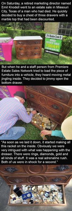 Maybe my husband won't complain when I buy old furniture if this kind of thing happens. You Wont Believe What This Guy Found When He Bought A Small Dresser From An Estate Sale 3 Pics Weird Facts, Fun Facts, Small Dresser, Faith In Humanity Restored, Scary Stories, Hilarious, Funny, Looks Cool, Mind Blown