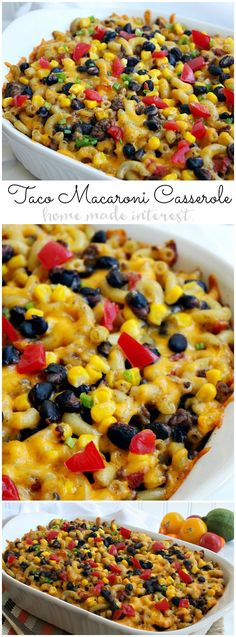 This taco macaroni casserole is an easy taco bake recipe that makes a great weeknight dinner. Full of all of your favorite tex-mex flavors this is a casserole recipe that puts a fun spin on taco night!