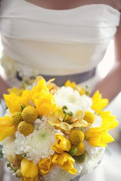 Gorgeous and bright wedding bouquet with white mums, yellow tulips and billy balls~ Cathy Sunu Photography, Floral design and wedding by agoodaffair.com