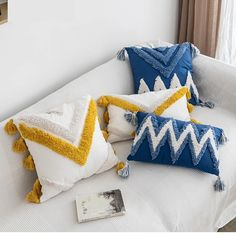 Boho Home Suzani Mexican Handmade Cushion Cover Moroccan Style Abstract Zigzag Navy Blue Pillowcase Tassels Fringe Square Rectangle Pillow Cover Home Decoration Mustard Handmade Cushion Covers, Handmade Cushions, Diy Pillows, Decorative Pillows, Pillow Covers, Throw Pillows, Moroccan Style, Moroccan Design, Scrappy Quilts