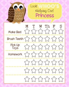 Look 'WHOO'S' Helping Out, Summer Chore Chart Printable!