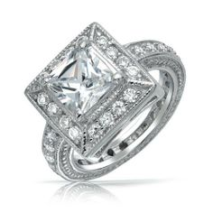 Bling Jewelry Vintage Style Princess Cut CZ Milgrain Engagement Ring 925 Silver Bling Jewelry. $44.99. 3mm band width. 7mm 2ct center stone. Weighs 7 grams. .925 sterling silver. Princess cut engagement ring