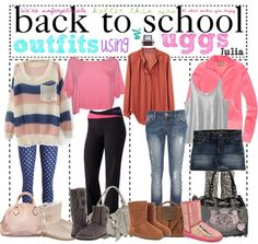 Back to school outfits for winter, they all include uggs