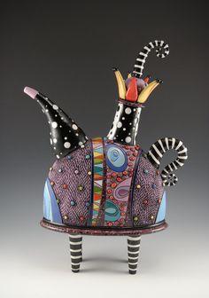 Natalya Sotts :: natalyasots.com :: etsy.com/natalyasots Whimsical Purple Teapot with Striped Legs