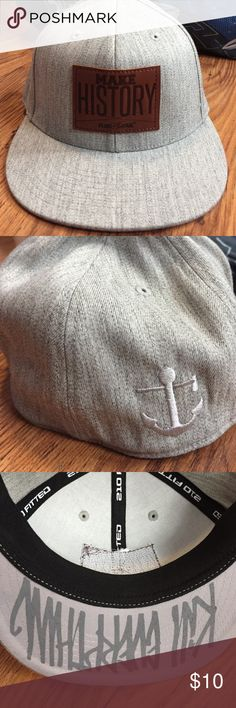 Flag Nor Fail Fitted hat Gray with MAKE HISTORY leather patch on front. Never worn. flag nor fail Accessories Hats