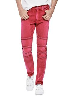 e67277a031 Slim Tapered Moto Jeans at Guess
