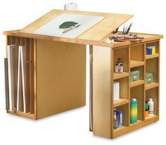 There is a giant drafting table downstairs. It would be a great craft table. art studio furniture- love the space for artwork storage and addition of drafting top! Studio Desk, Studio Furniture, Diy Furniture, Studio Table, Studio Spaces, Art Studio Design, My Art Studio, Design Art, Bureau D'art