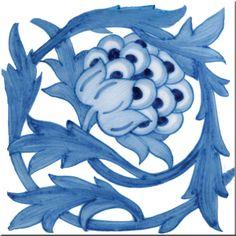 William Morris - William De Morgan Blue Artichoke tile