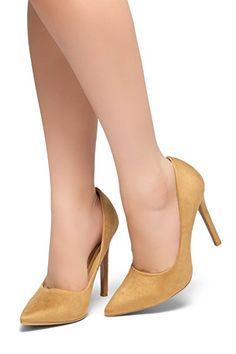 f6d50d6caaf Herstyle Women s Marneena Suede Heel With ligghtly Pointed Toe Taupe 9