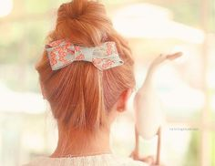 Get creative with hair bows for a sweet, feminine look! Hair Day, My Hair, Bun Bow, Cut Her Hair, Up Girl, Gorgeous Hair, Pretty Hairstyles, Hair Pins, Hair Inspiration