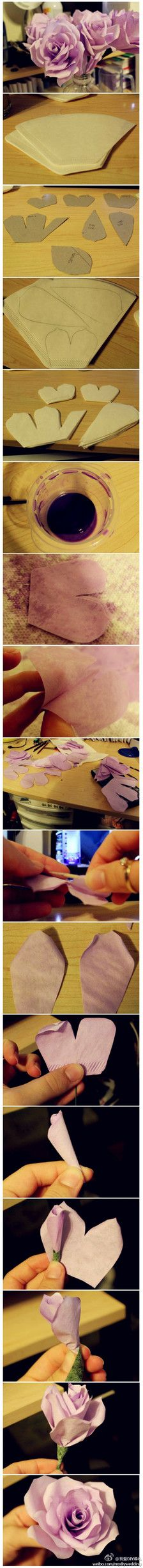 Ultra-detailed tutorial!  With a coffee filter paper will be able to make such elaborate roses