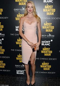 Making them blush: Lindsay Ellingston rocked a blush pink spaghetti strap dress at the New York premiere of A Most Wanted Man http://dailym.ai/1r7RFpT