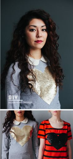 Sequin Heart Shirt/Sweater- 18 Adorable DIY Clothes and Accessories for Valentine's Day