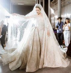 Backstage at Zuhair Murad Haute Couture Fall/Winter 2015-16, Paris Fashion Week