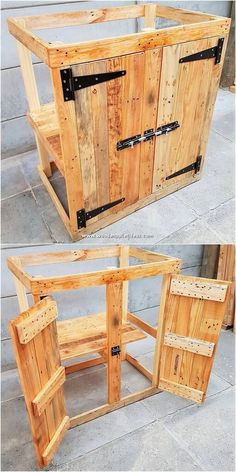 Creative Ways of Recycling Pallets That Will Inspire You - Wooden Pallet Ideas How adorably this furniture pallet cabinet piece has been style up for your house all through the f Wooden Pallet Projects, Wooden Pallet Furniture, Diy Furniture, Modern Furniture, Furniture Vintage, Inexpensive Furniture, Furniture Market, Furniture Websites, Furniture Removal