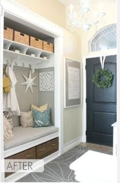 """transforming a coat closet into an entry nook, love! - How to make your home less """"cookie cutter""""! This would be cute to do for a back hallway/mudroom too. Home Design, Interior Design, Design Ideas, Design Design, Interior Decorating, Decorating Ideas, Home Upgrades, Style At Home, Home Renovation"""