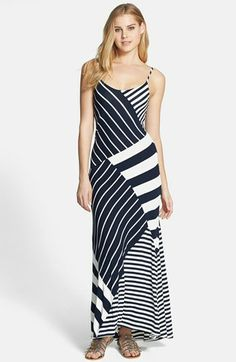 Vince Camuto Mixed Stripe Print Jersey Maxi Dress available at #Nordstrom