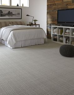 Woven Patterned Carpet | Warm Gray Flooring | Personal Retreat