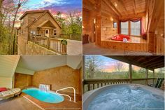 Four views in one, showing 3 favorite ways to get wet in your Smoky Mountains cabin: Hot tub, Heart-shaped jacuzzi, and indoor swimming pool - luxury! Click through for more cabins like this one...