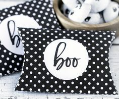 "If you like free Halloween printables, check out these cute ""Boo"" pillow boxes. Easy to assemble!"