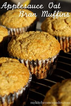 These oat bran muffins are loaded with applesauce which makes them so moist and delicious! Very healthy and loaded with fiber for a great breakfast