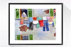 Italian Laundry Art / Watercolor print / Clothesline / Funny laundry room art / Silly poster / Bathroom wall art / Gray painting 11 x 14 Jig Saw, Art Prints For Sale, Wall Art Prints, Color Ink, Laundry Room Art, Popular Art, Bathroom Wall Art, Watercolor Print, Watercolor Illustration