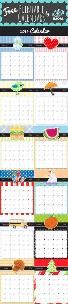 2014 Printable Calendars - I used these all 2013 and everyone loved when a new month came up to see what the photo on top would be.
