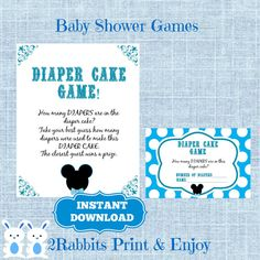 Mickey Mouse Baby Shower Printable Diaper Cake Game by 2RabbitsPrintEnjoy Guess how many diapers are in the diaper cake? #mickeymousebabyshower #mickeymouseprintablegames #disneybabyshower