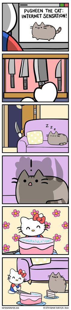 Pusheen and hello Kitty how cute Gato Pusheen, Pusheen Love, Pusheen Stuff, Cute Comics, Funny Comics, Pusheen Stormy, Hello Kitty, Nyan Cat, Kawaii Cat
