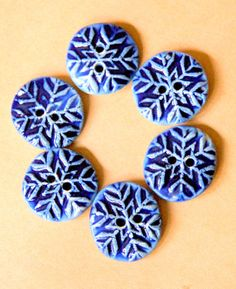 6 Handmade Ceramic Buttons -Bright Blue Snowflake buttons - small and sweet