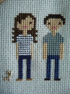 Cross Stitch Portrait w/ frame 2 People by loveandbeststitches