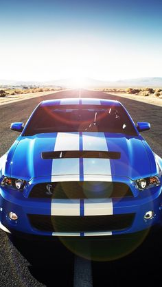 Really like the racing stripes on this Shelby.  A beautiful car | Shelby GT via carhoots.com