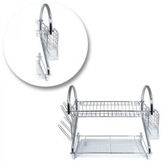 Dish-Rack-Drainer-Drying-Kitchen-Holder-Organizer-Tray-Chrome-Sink-Dryer-Plate-S