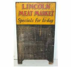 "Wood Menu Sign ""Lincoln Meat Market\"""