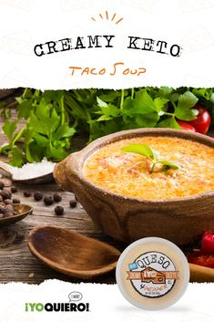 This creamy taco soup recipe is loaded with ground beef, flavorful taco spices, queso, garlic, and you can dress it up with all your favorite toppings! Mexican Food Recipes, Soup Recipes, Diet Recipes, Cooking Recipes, Healthy Recipes, Shrimp Recipes, Family Recipes, Diabetic Recipes, Recipies