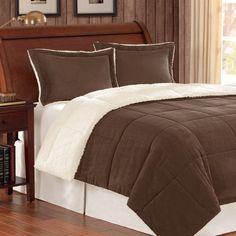 Premier Comforter Corduroy/Berber Comforter Mini Set, Full/Queen, Chocolate
