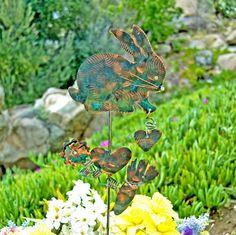 Rabbit Stake / Copper Art / Bunny / Yard Art / Metal Garden Art / Farm Animal / Indoor Outdoor / Garden Sculpture / Barnyard / Patio Decor