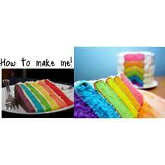 """""""how to make a rainbow cake!"""" by igottagetbacktohogwarts on Polyvore"""