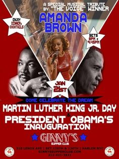 Celebrate Martin Luther King Day and President Obama's Second Inauguration at Ginny's Supper Club in Harlem