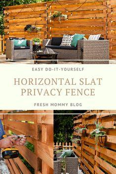 Stunning DIY Horizontal Slat Fence | Lifestyle | Fresh Mommy Blog Pallet Privacy Fences, Privacy Fence Panels, Privacy Fence Designs, Privacy Screen Outdoor, Privacy Walls, Backyard Privacy, Pallet Fence, Diy Fence, Backyard Fences