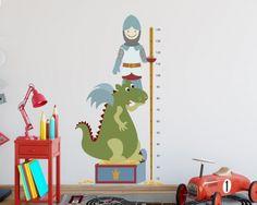 #Ritter und #Drachen im #Kinderzimmer - das #Abenteuer kann beginnen! https://www.tinyfoxes.de/Wandtattoos/Kinderzimmer/Wandtattoo-Messlatte-Ritter.html