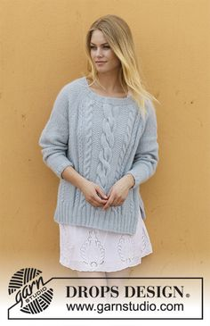 Skye / DROPS 188-36 - Knitted jumper with cables, lace pattern, split and raglan. Sizes S - XXXL. The piece is worked in DROPS Air.