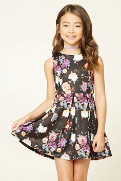 Forever 21 Girls - A knit A-line dress featuring an allover floral print, round neckline, pleated skirt, sleeveless cut, and an exposed back zipper.