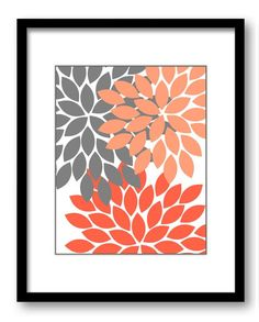Flower Print Salmon Coral Grey Gray by CustomArtPrints on Etsy