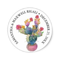 Shop Watercolor Cactus Fiesta Favor Sticker created by VGInvites. Cactus Stickers, Round Stickers, Cacti Garden, Watercolor Cactus, Baby Shower Thank You, Favor Tags, Different Shapes, Custom Stickers, Activities For Kids
