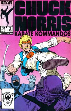 """Chuck Norris & his Karate Kommandos  #2 - Marvel's Star Comics - """"Margie"""" - Written by Mary Jo Duffy - Illustrated by Steve Ditko & Mike Esposito inks.with a Mark Bright cover. - Chuck Norris and the Kommandos try to keep the cutting edge Banana 7000 computer prototype out of the hands of the Cult of the Klaw."""